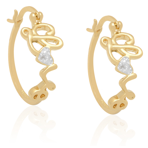 Finesque Diamond Accent 'Love' Hoop Earrings