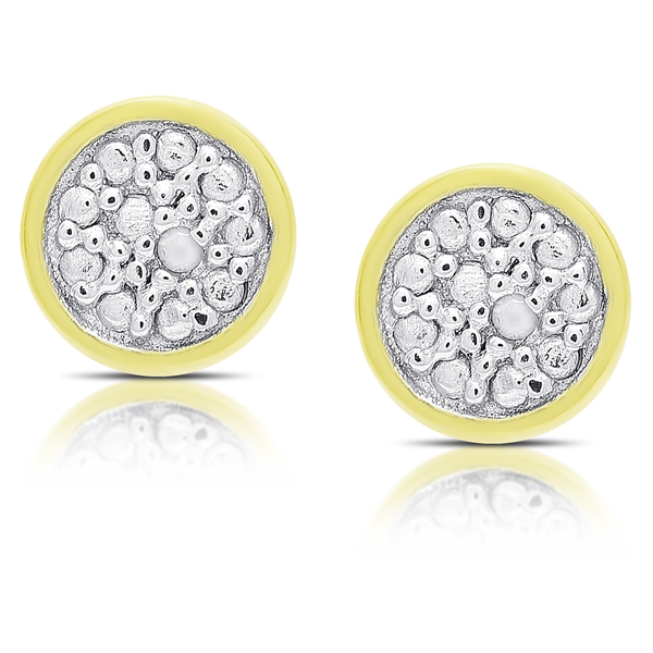 Finesque Gold Over Silver or Sterling Silver Diamond Accent Circle Stud Earrings