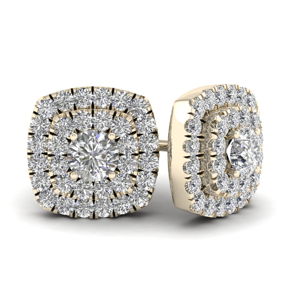 De Couer 1/2ct TDW Diamond Double Square Frame Stud Earrings (H-I, I2) - Yellow