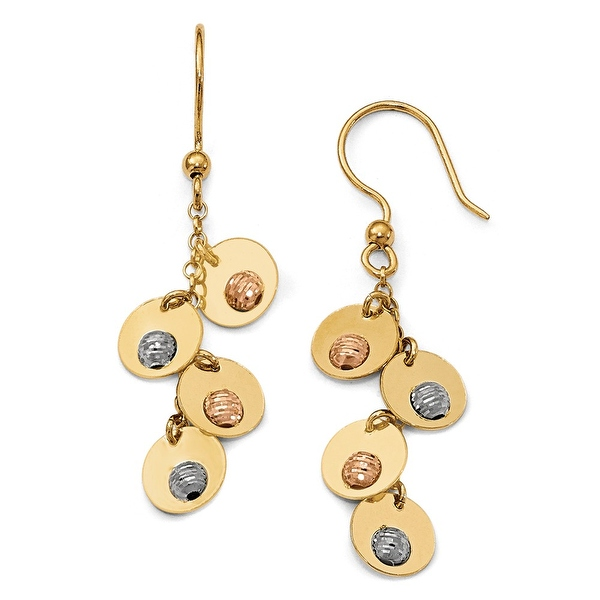 Italian 14k Tri-Color Gold Fancy Earrings