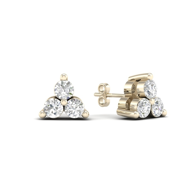 De Couer 10k Yellow Gold 1/3ct TDW Diamond Three Stone Stud Earrings