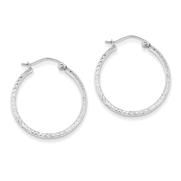 Versil 14k White Gold Diamond-cut 2.8x25mm Hollow Hoop Earrings