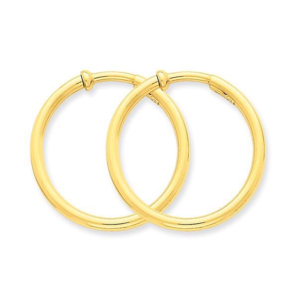 14 Karat Non-Pierced Hoops Earrings