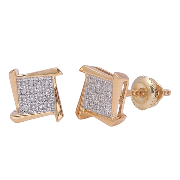 De Couer 1/20 TDW Diamond Yellow Gold Plated Cluster Stud Earrings