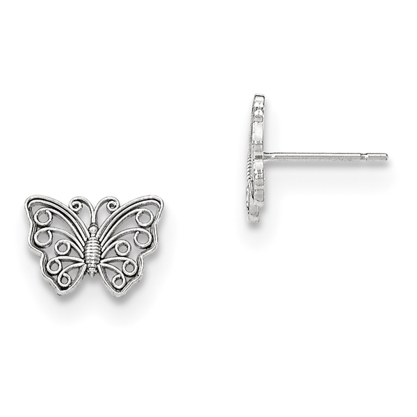 14k White Gold Polished Cut-out Butterfly Post Earrings by Versil