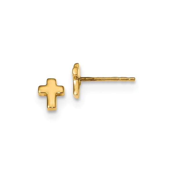 14 Karat Gold Polished Cross Post Earrings