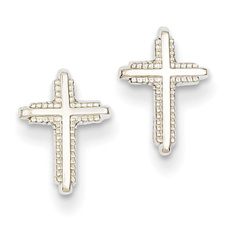 14k White Gold Polished Cross Post Earrings by Versil
