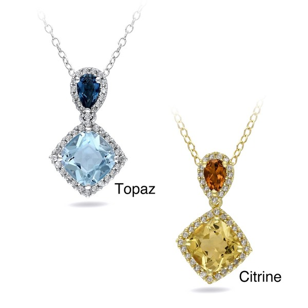 Miadora 18k Gold Over Sterling Silver Gemstone and 1/6ct TDW Necklace (G-H, I2-I3)