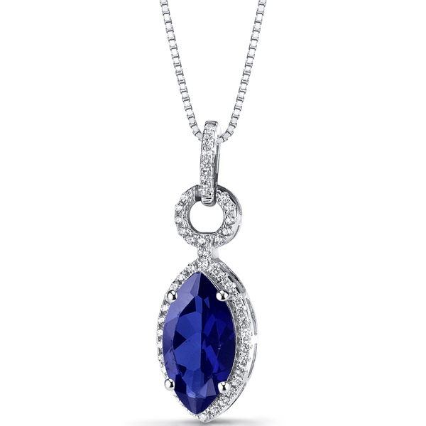 Oravo Sterling Silver 3 3/4ct TGW Created Blue Sapphire Marquise Pendant Necklace