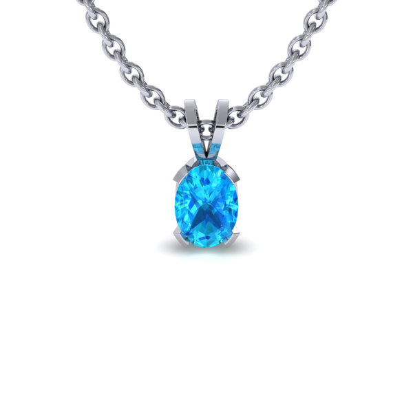 1/2 TGW Oval Shape Aquamarine Necklace In Sterling Silver, 18 Inches
