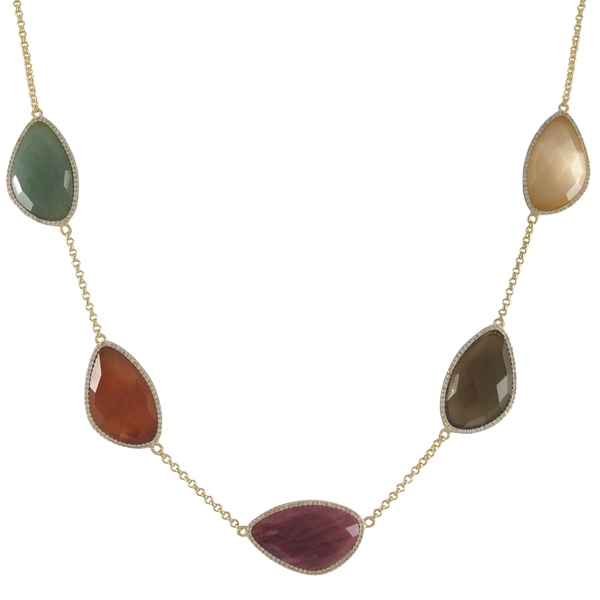 Luxiro Sterling Silver Gold Finish Multi-color Semi Precious Gems Surrounded with Cubic Zirconia Necklace