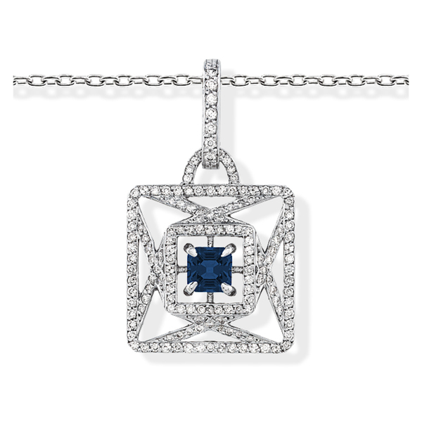 Estie G 18k White Gold Sapphire and 7/8ct TDW Diamond Necklace (H-I, VS1-VS2)