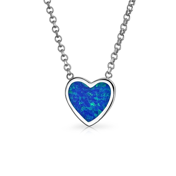 Bling Jewelry Synthetic Blue Opal .925 Silver Small Heart Pendant Necklace