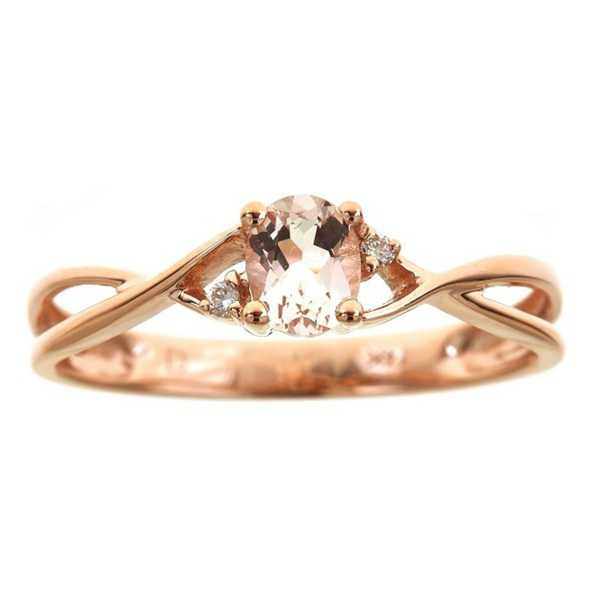 Anika and August 14k Rose Gold Oval-cut Morganite Diamond Accent Ring - Pink
