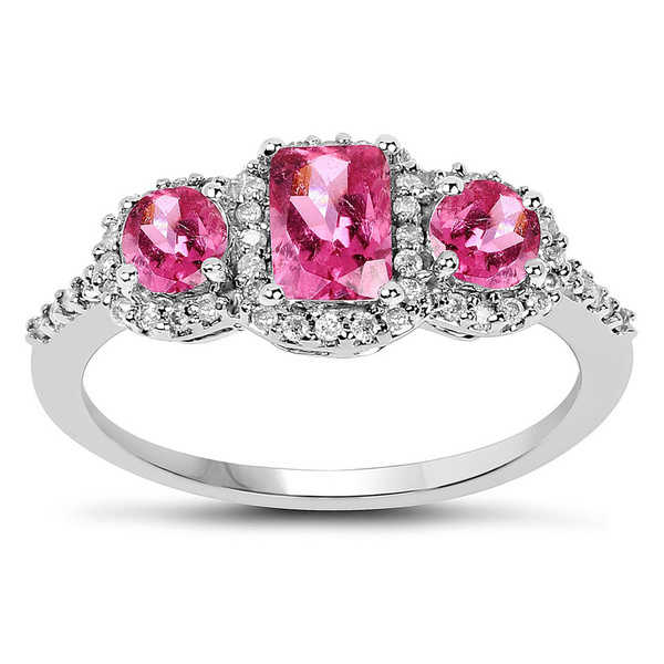 Olivia Leone 10k White Gold 1/5ct TDW Diamond and Pink Tourmaline Ring