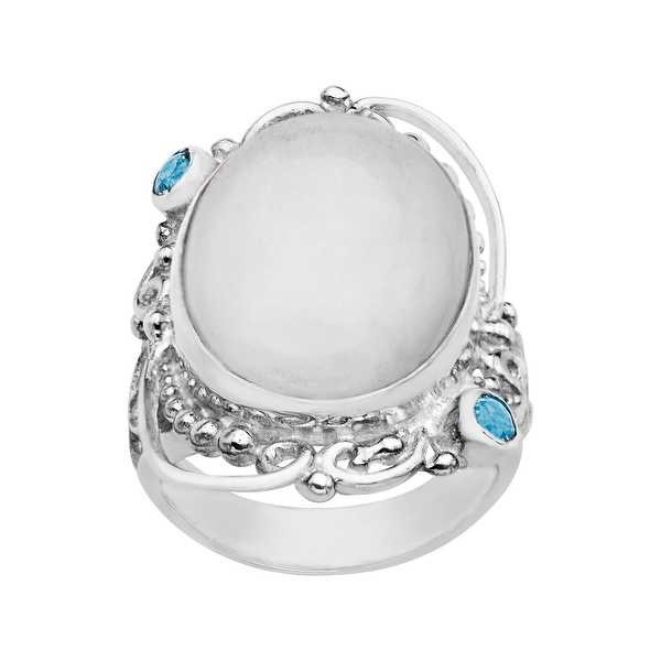 Sajen White Selenite and Blue Topaz Ring in Sterling Silver