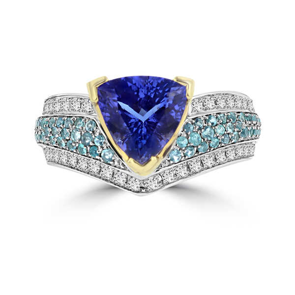 La Vita Vital 18k White/ Yellow Gold Tanzanite 2.76ct Paraiba Tourmaline 1/2ct and Diamond 0.35ct TDW Ring
