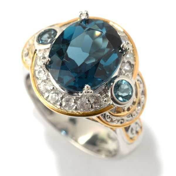 Michael Valitutti Palladium Silver London Blue Topaz and White Zircon Halo Ring