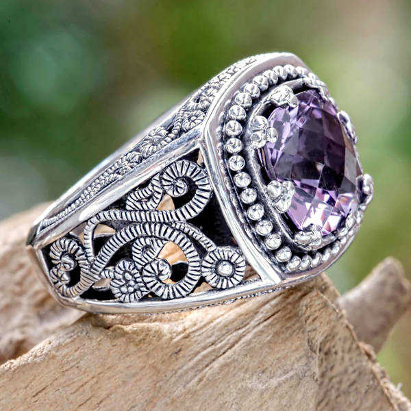 Handmade Sterling Silver 'Purple Desert Illusion' Amethyst Ring (Indonesia)