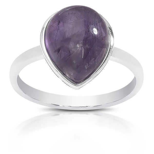 Dolce Giavonna Sterling Silver Teardrop Gemstone Solitaire Ring