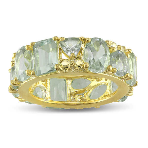 Miadora Yellow Plated Sterling Silver Multi-Cut Green Amethyst Full-Eternity Band