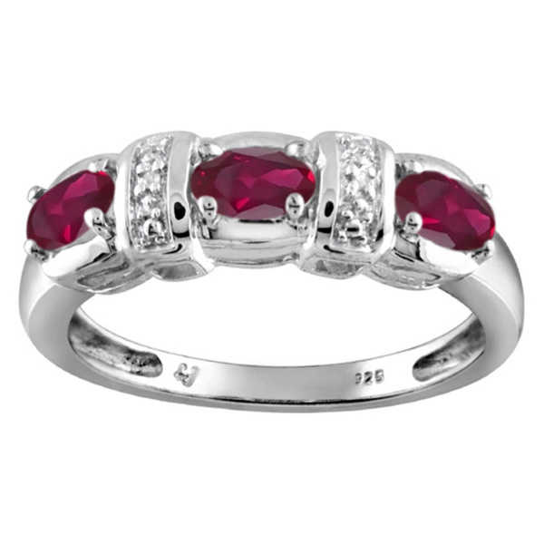 Silver Ruby Gemstone and White Diamond Accent Three Stone Ring