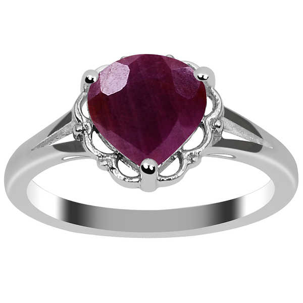 Orchid Jewelry Valentine Collection 925 Sterling Silver Ring 2.65ct. TGW Genuine Ruby