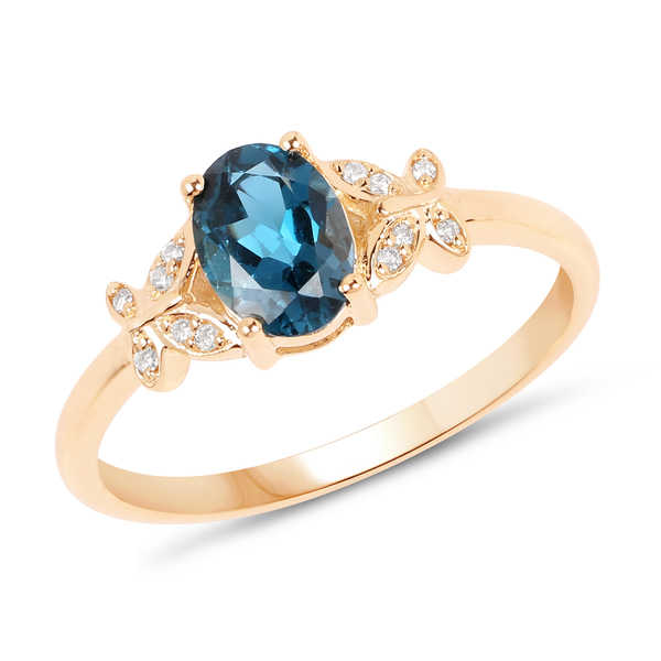 Malaika 14k Yellow Gold 1ct TGW London Blue Topaz and White Diamond Accent Ring