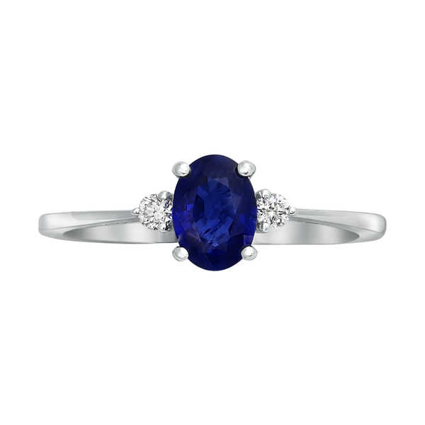 14k White Gold 1ct Natural Blue Sapphire and Diamond Engagement Ring