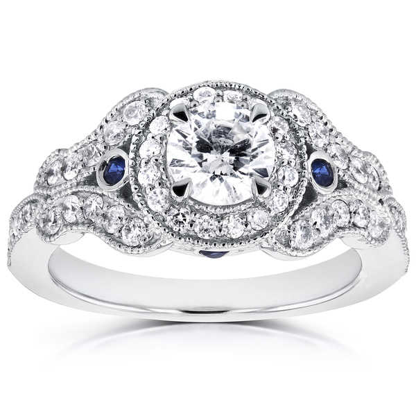 Annello by Kobelli 14k White Gold 7/8ct TDW Diamond and Sapphire Accent Antique Milgrain Ring