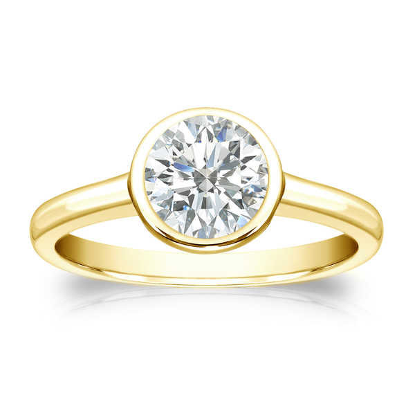 Auriya 18k Gold 1ct TDW Round-cut Diamond Solitaire Bezel Engagement Ring