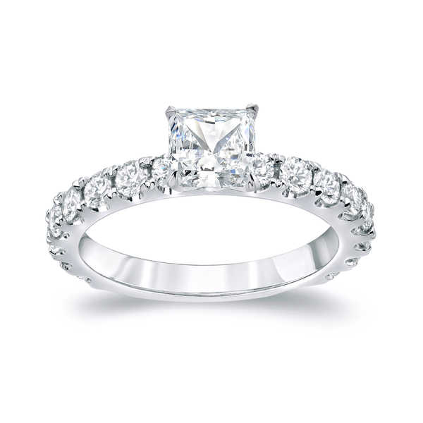 Auriya Platinum 1 3/4ct TDW Certified Princess-Cut Diamond Engagement Ring