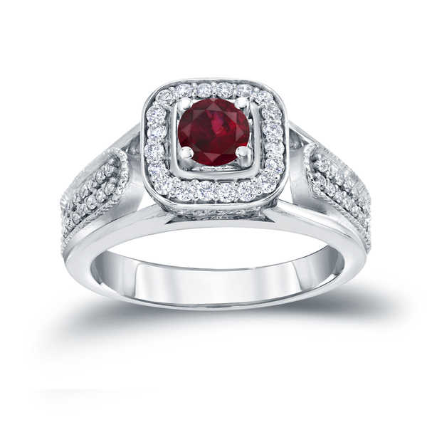 Auriya 14k Gold 1/6ct Ruby and 1/3ct TDW Diamond Engagement Ring (H-I, I1-I2) - Red