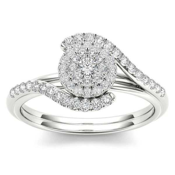 De Couer 10k White Gold 2/5ct TDW Diamond Bypass Halo Engagement Ring - White H-I