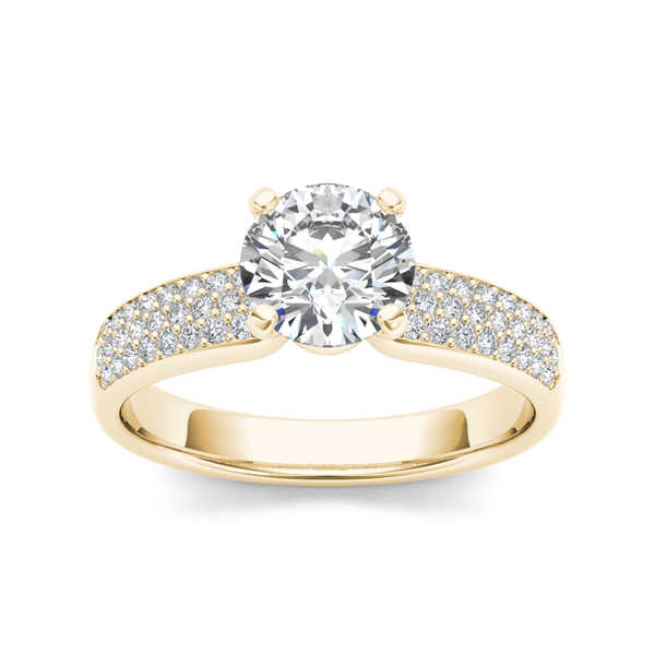 De Couer 14k Yellow Gold 1 1/5ct TDW Pave Band Diamond Engagement Ring