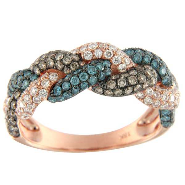 Prism Jewel 1.43Ct Ice-Blue,Brown Color Diamond with Natural Diamond Wedding Band, Rose Gold - Blue/Brown/White G-H