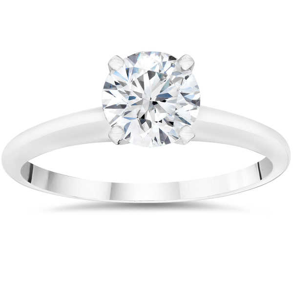 14k White Gold 1/2ct Round Cut Lab Grown Eco Friendly Diamond Solitaire Engagement Ring