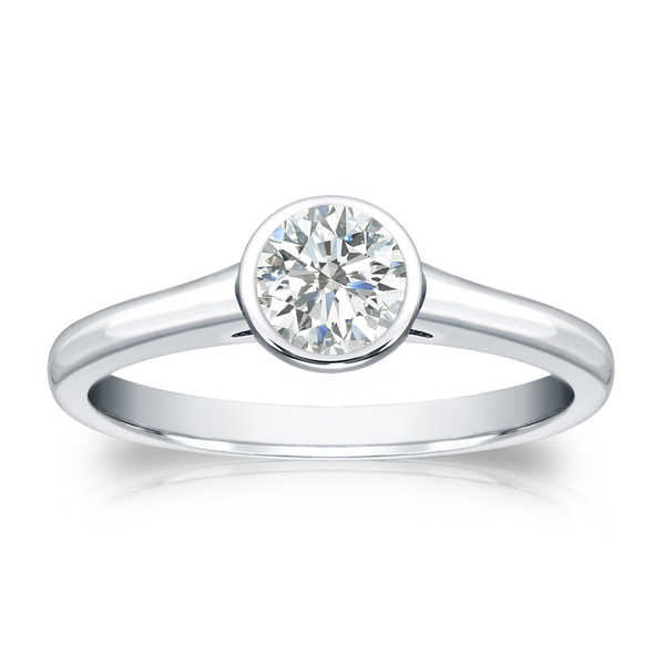 Auriya 18k Gold 1/3ct TDW Round-cut Diamond Solitaire Bezel Engagement Ring