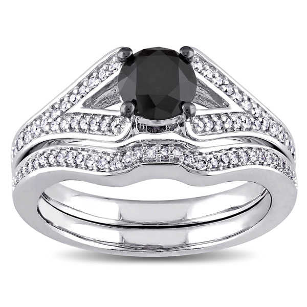 Miadora 10k White Gold 1 1/4ct TDW Black and White Diamond Bridal Ring Set