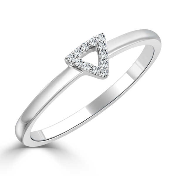 Auriya 10K Gold 0.05ct TDW Diamond Triangle Stackable Ring