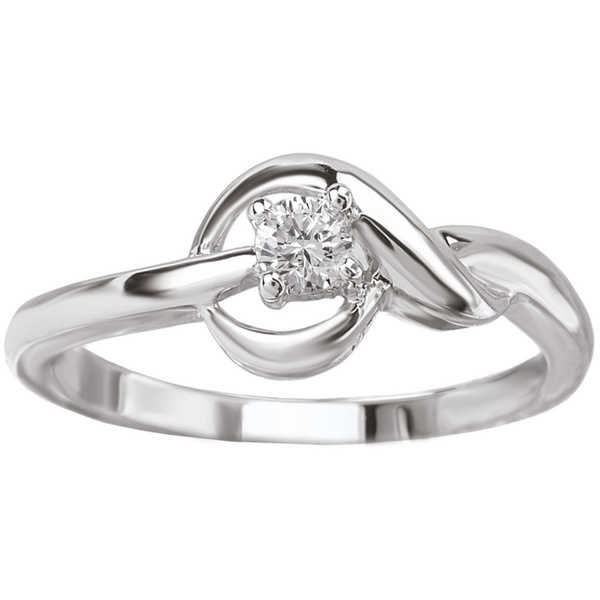 Avanti 14k White Gold 1/10ct TDW Love Knot Diamond Ring