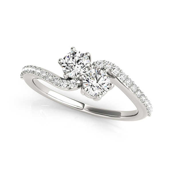 Auriya 14k White Gold 1/2ct TDW 2-Stone Round Cut Diamond Ring