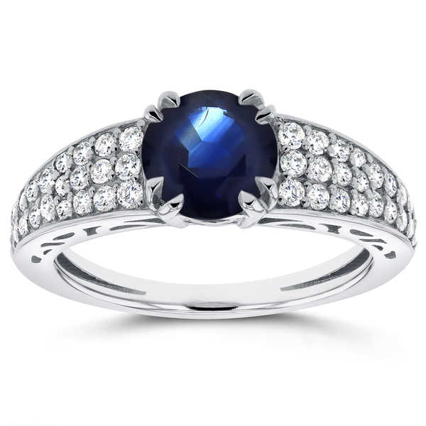 Annello by Kobelli 14k White Gold Sapphire and 2/5ct TDW Diamond Soft-Edged Ring (H-I, I1
