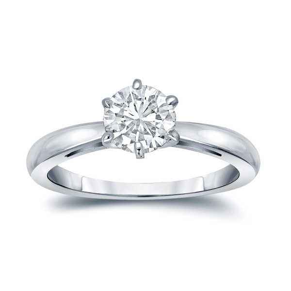 Auriya GIA Certified 18k White Gold 6-Prong 1.75 ct. TDW Round-Cut Diamond Solitaire