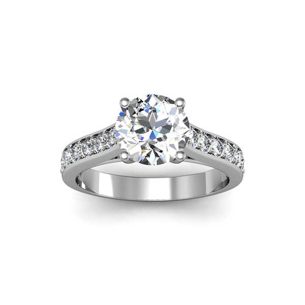 14k White Gold 2ct. Diamond Engagement Ring with 1 1/2ct. Clarity Enhanced Solitaire Center Diamond - White H-I