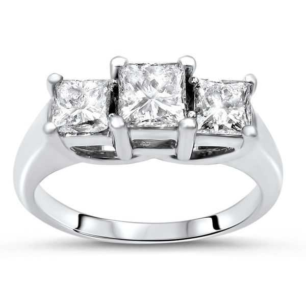 Noori 14k Gold 1ct TDW Princess-cut 3-stone Diamond Engagement Ring - White