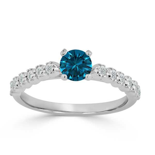 Auriya 14k Gold 3/5ct TDW Blue and White Diamond Engagement Ring