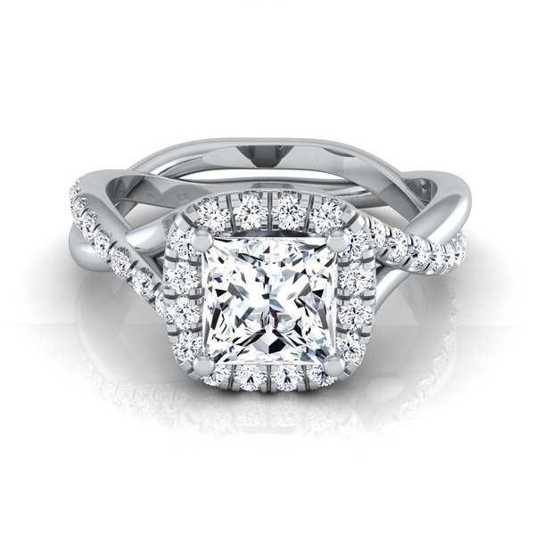 14k White Gold IGI-certified 1 2/5ct TDW Princess-cut Diamond Halo Engagement Ring