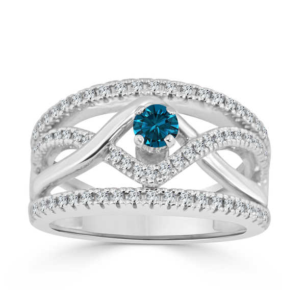 Auriya 14k Gold 2/5ct TDW Braided Blue Diamond Engagement Ring