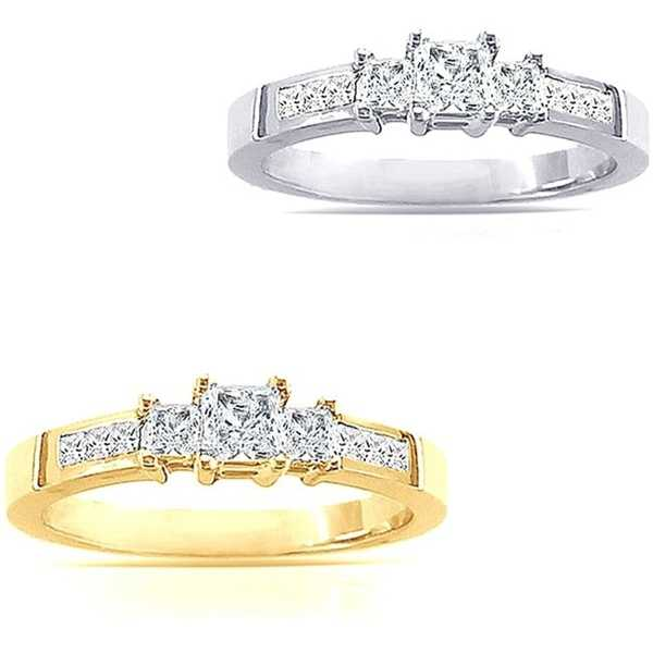 14k Gold 2ct TDW Princess-Cut Diamond Engagement Ring